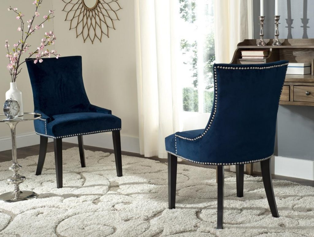Blue Velvet Dining Chair With White Buttons 22 Bond St Orange Dining