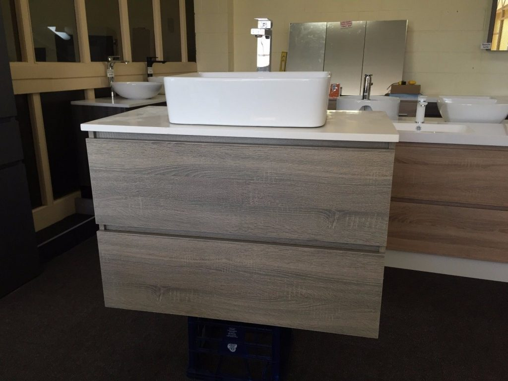 Bogetta 900mm Light Grey Oak Timber Wood Grain Bathroom Vanity