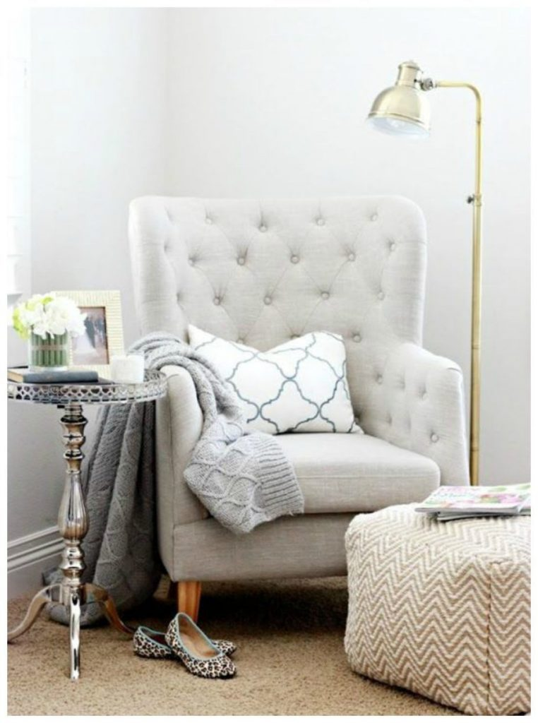 Buttoned Back Bedroom Reading Chair With Arms And Chevron Puff A