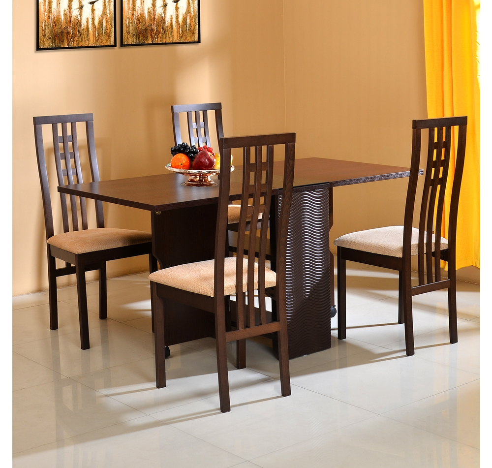 Buy Gypsy 4 Seater Dining Set Home Nilkamal Dark Walnut