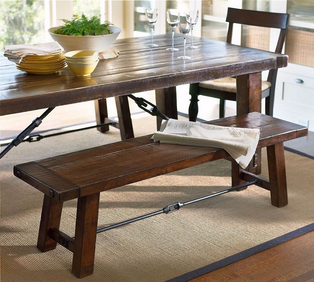 Charming Oak Table With Bench 29 Dining Room Tables Storage Benches