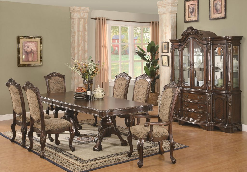 Coaster Andrea 7 Piece Double Pedestal Dining Table And Cushion Back