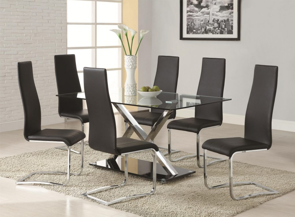 Coaster Modern Dining Contemporary Dining Room Set With Glass Table