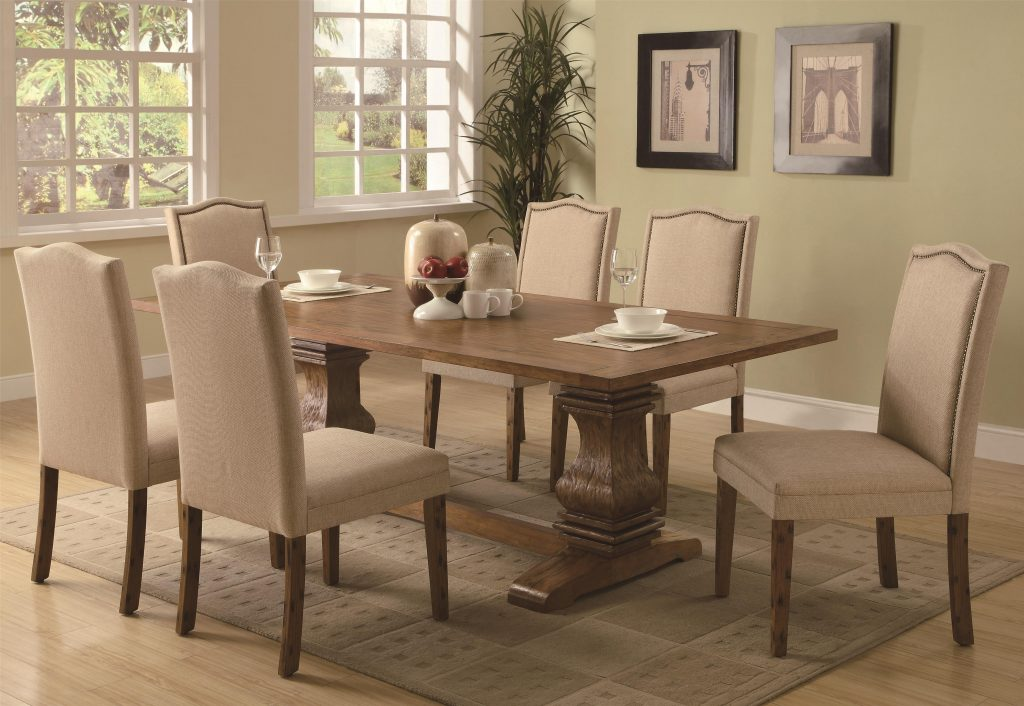 Coaster Parkins 7 Piece Dining Table And Parson Chair Set