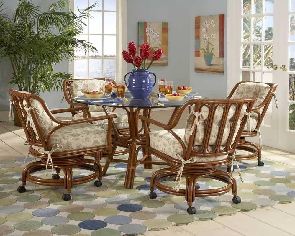 Colorful Kitchen Table And Chairs With Casters Rolling Dining Sets