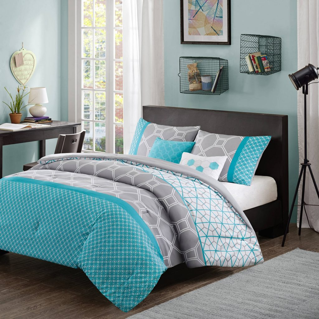 Comforter Bedroom 5 Piece Queen Bedding Aqua Blue Grey Set Winter
