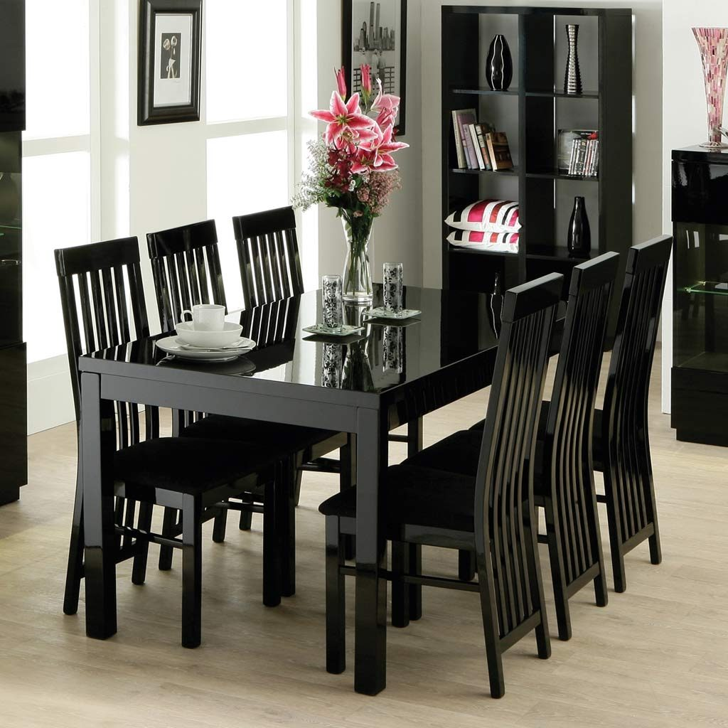 Contemporary Dining Room Design With Dazzle High Gloss Black
