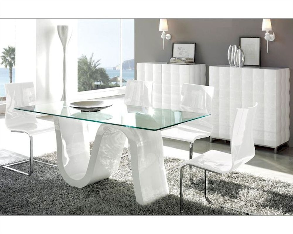 Contemporary Dining Room Sets White Simple Lines In The
