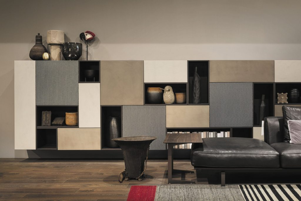 Contemporary Living Room Wall Unit Lacquered Wood Piero