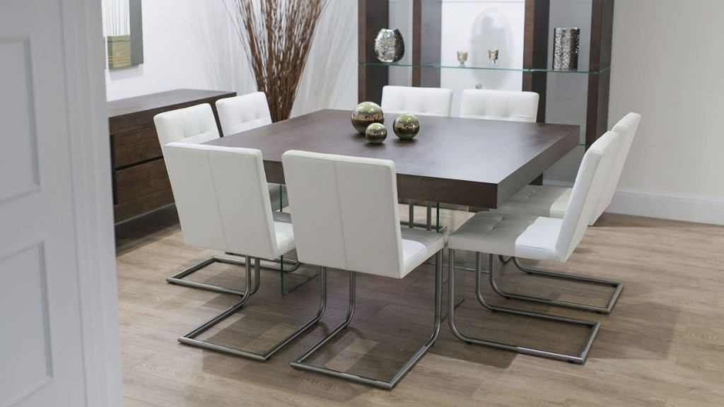 Contemporary Square Dining Room Table For 8 Seats With Glass Shelves