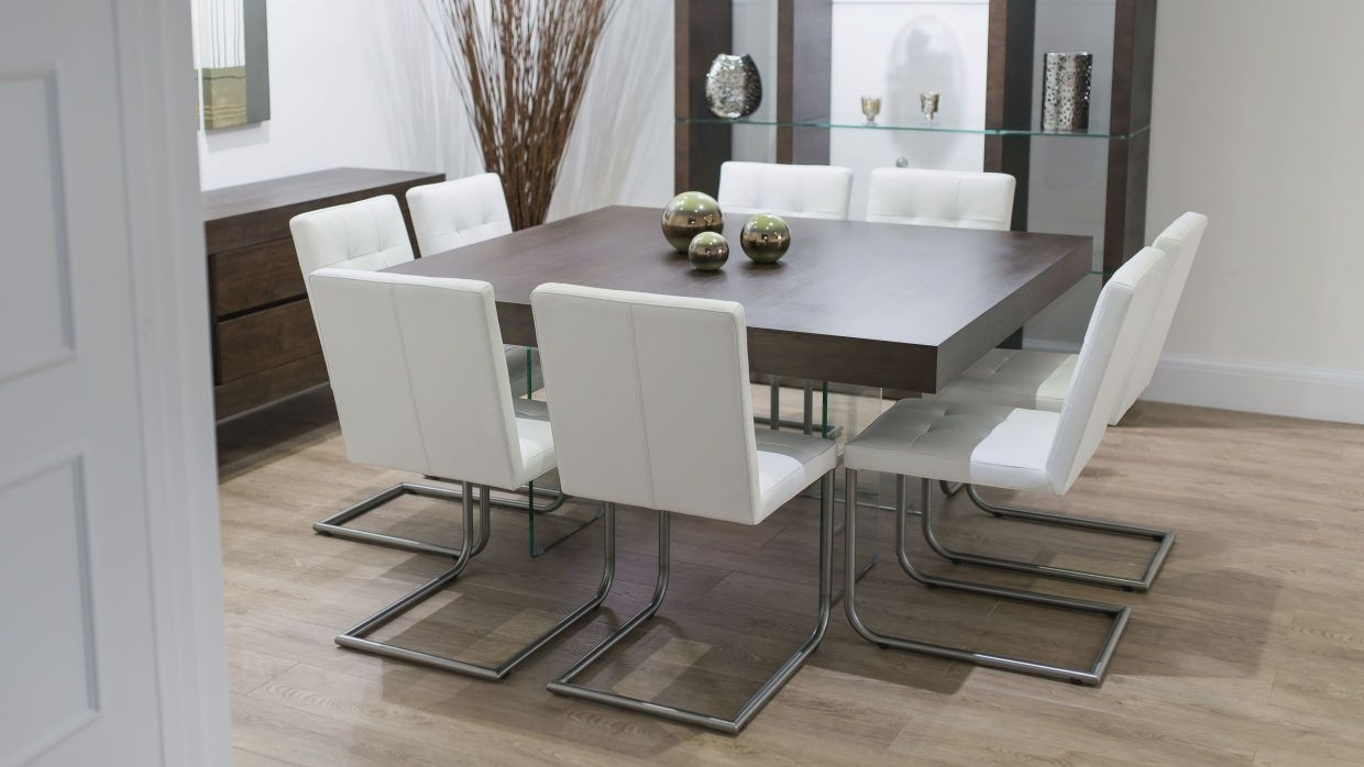 Picture of: Contemporary Square Dining Room Table For 8 Seats With Glass Shelves Layjao