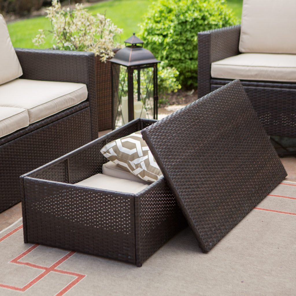 Coral Coast Berea Outdoor Wicker Storage Coffee Table Hayneedle