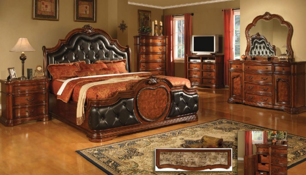 Coronado Cherry Wmarble Top Bedroom Set Mainline