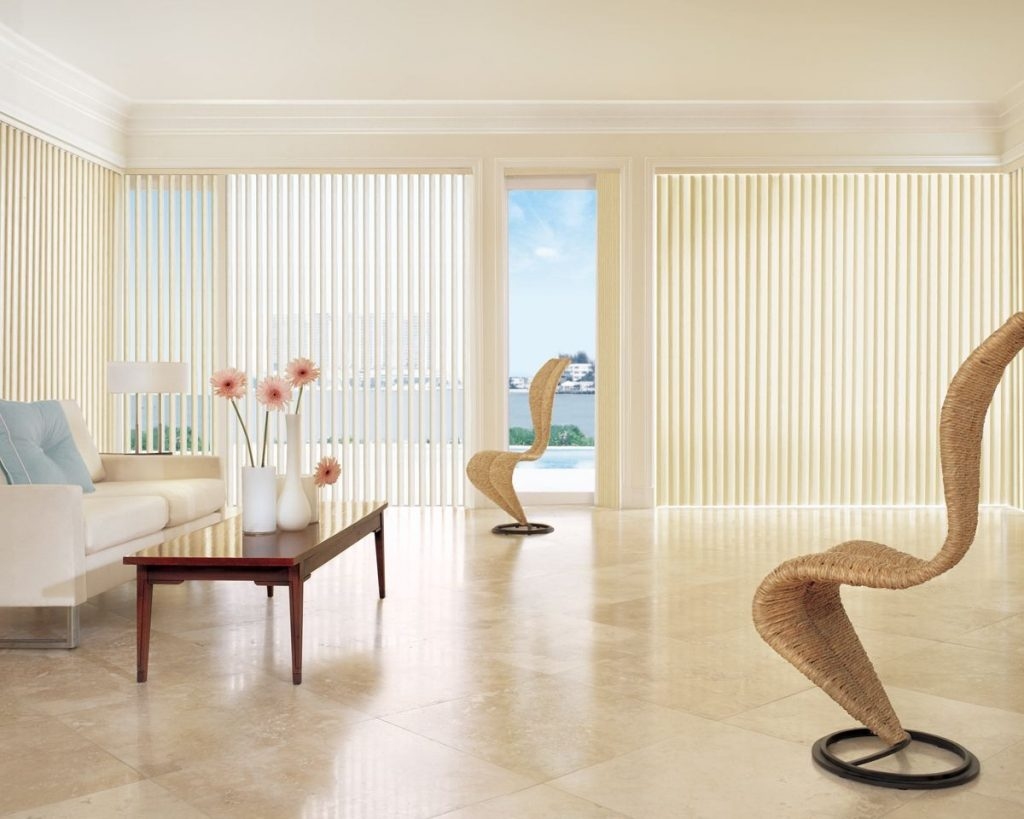 Cream Vertical Blinds For Contemporary Living Room Window Apartment