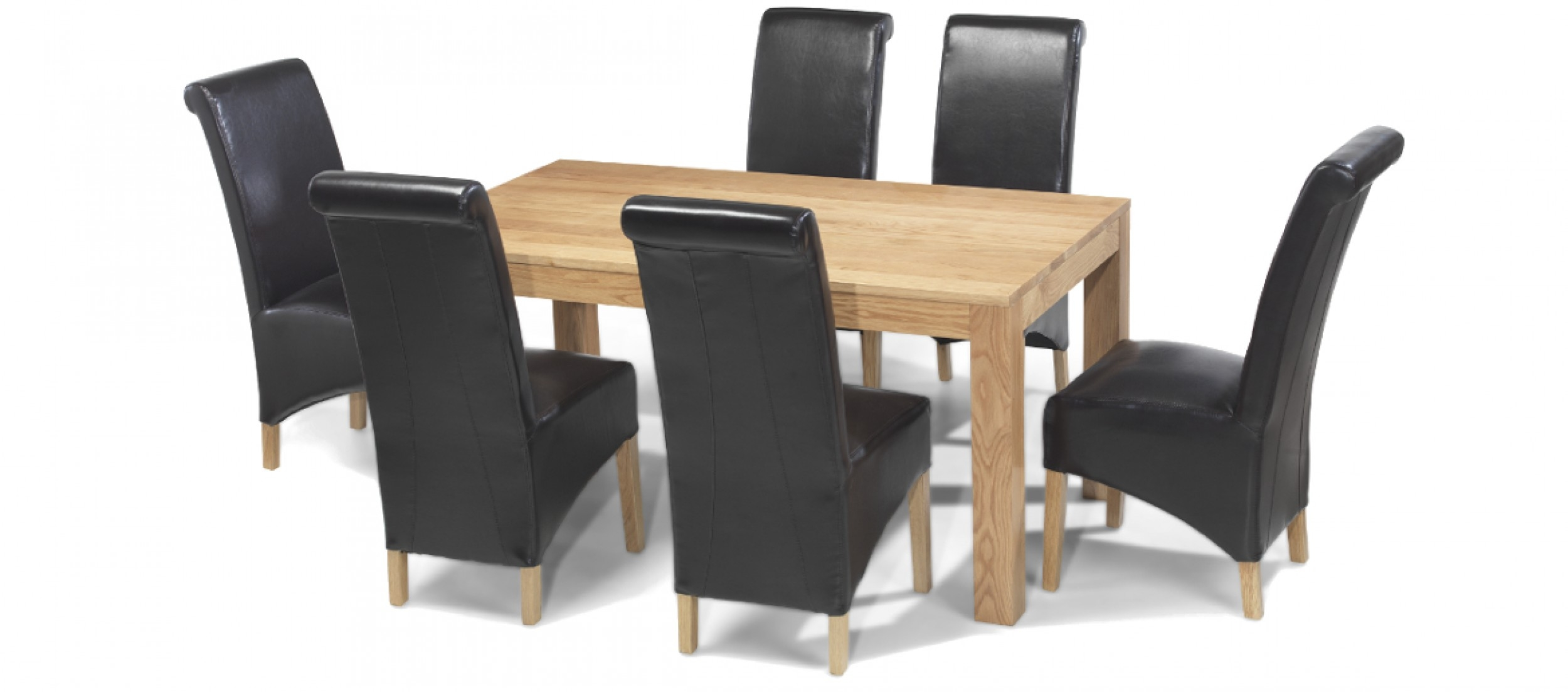 Cube Oak 160 Cm Dining Table And 6 Chairs Quercus Living Layjao