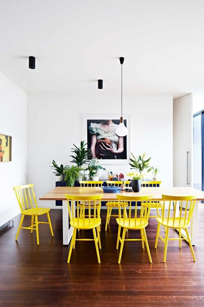 Dining Room Bright Yellow Ercol Chairs Wooden Rectangular Dining
