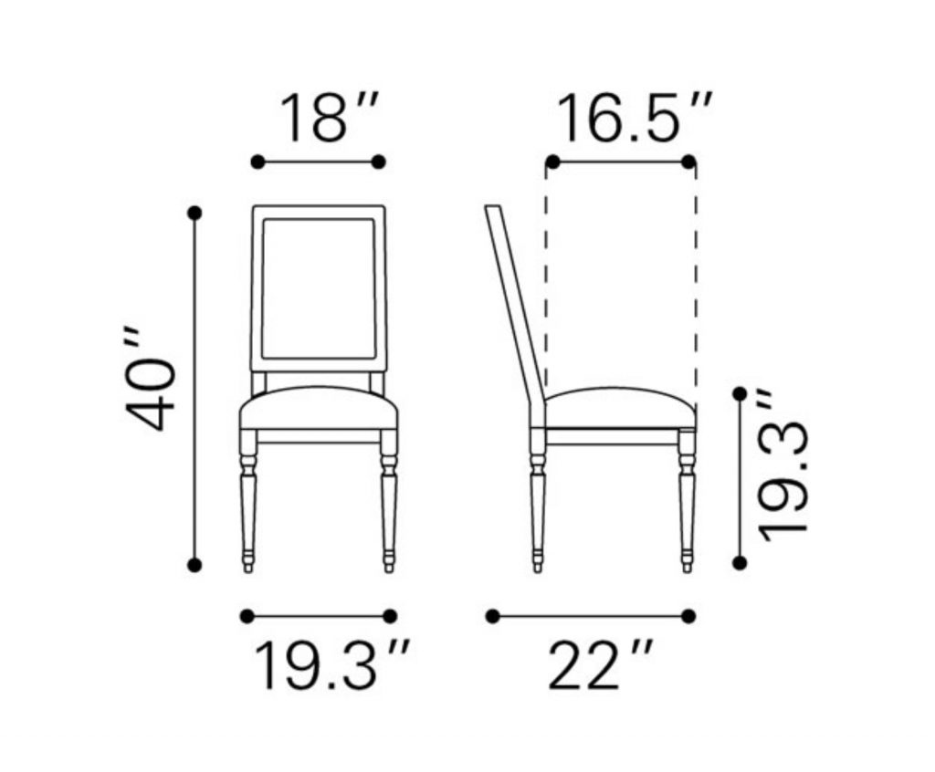 Dining Room Chair Dimensions Dodomi