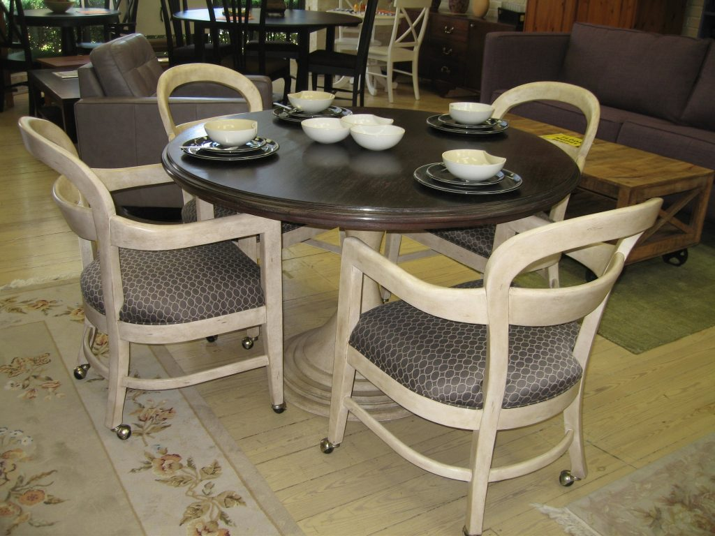 Dining Room Chairs With Arms And Casters Dining Table Sets Brown