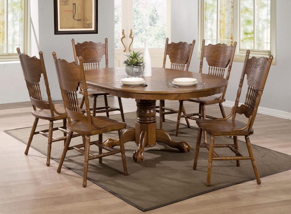 Dining Room Oak Dining Room Set Used With Hutch Table Chairs Ebay