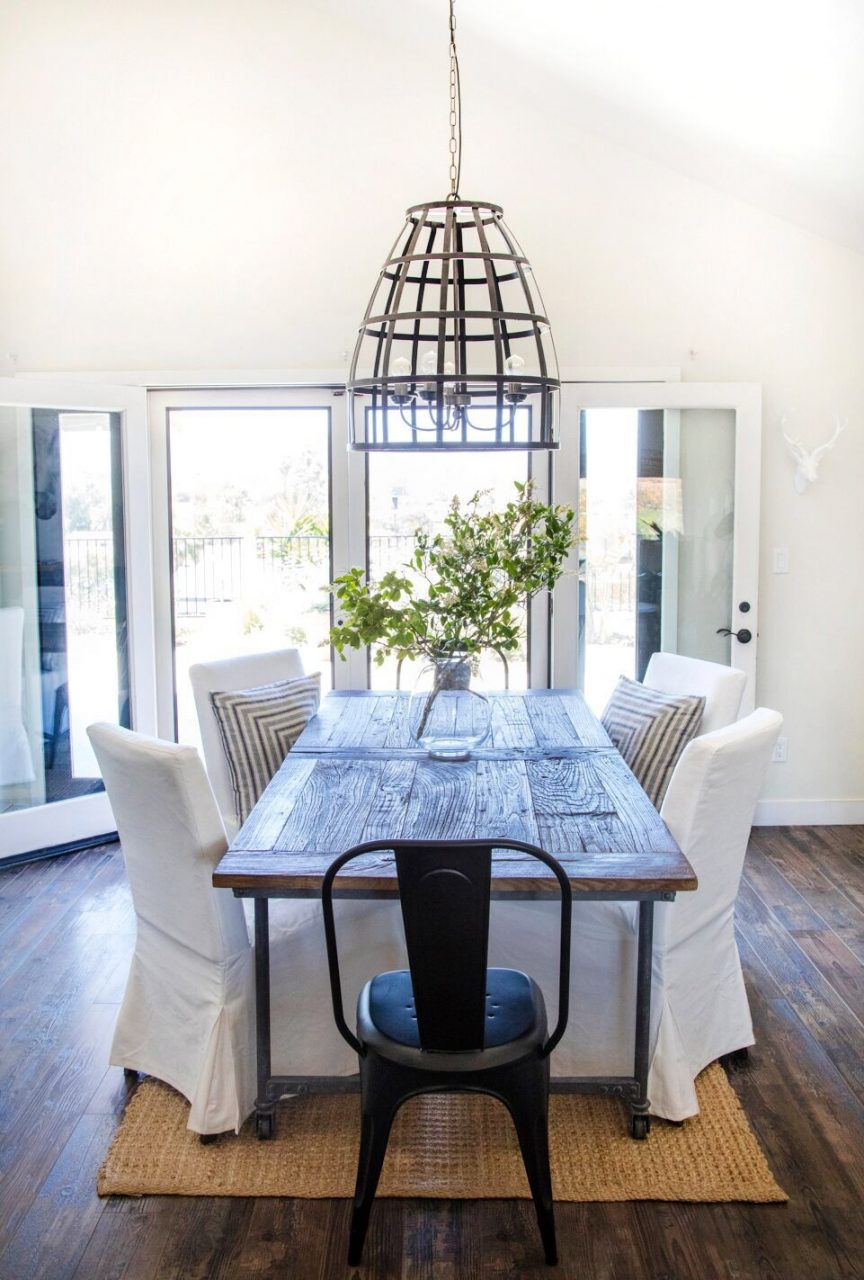 Dining Room Restoration Hardware Table With Ikea Chairs And Bird