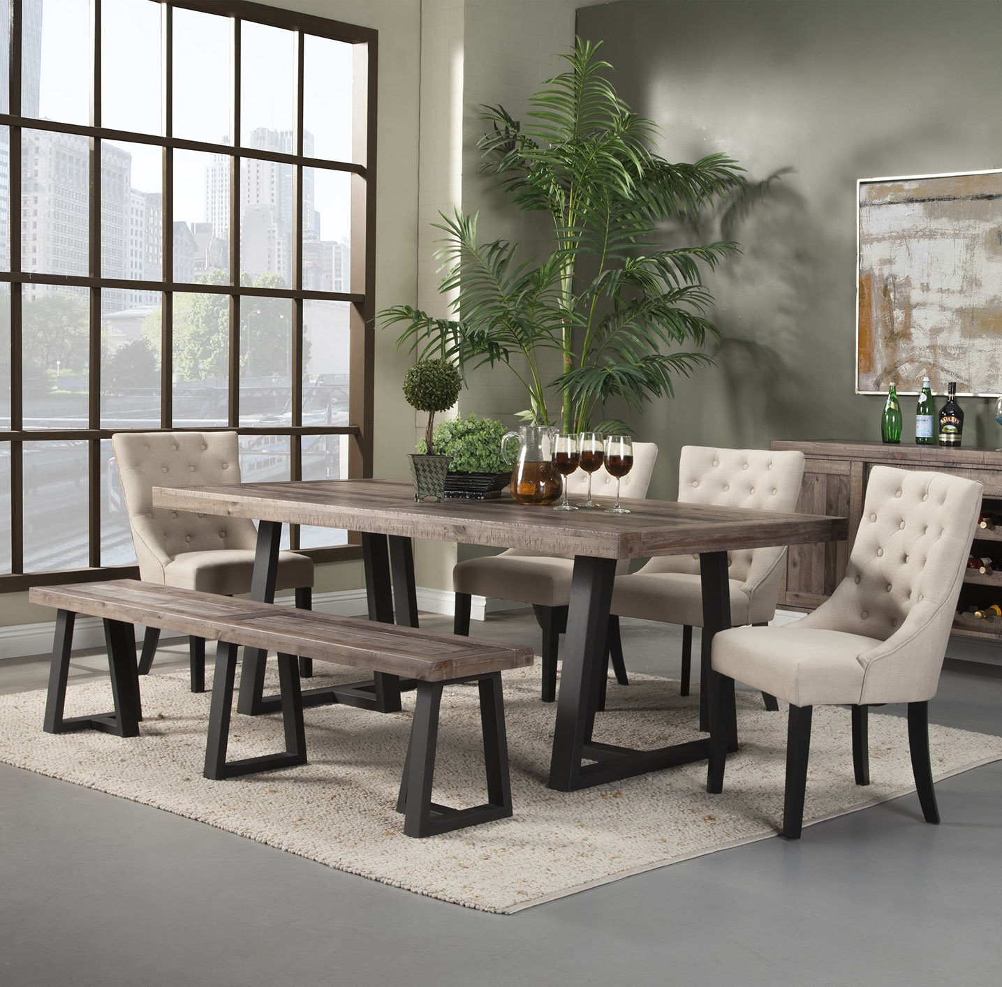 Dining Room Tables With Bench Pertaining To Pictures Table Set