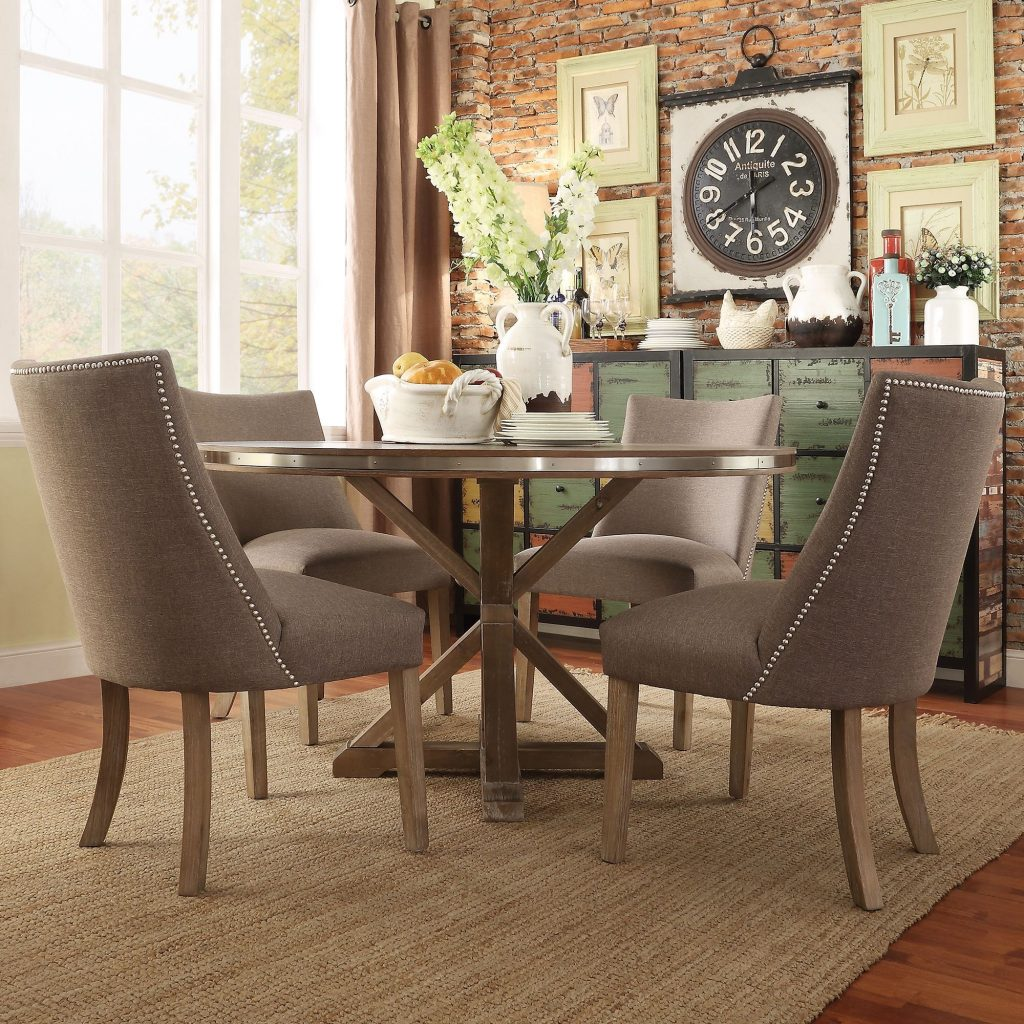 Dining Space Abbott Rustic Round Stainless Steel Strap Oak