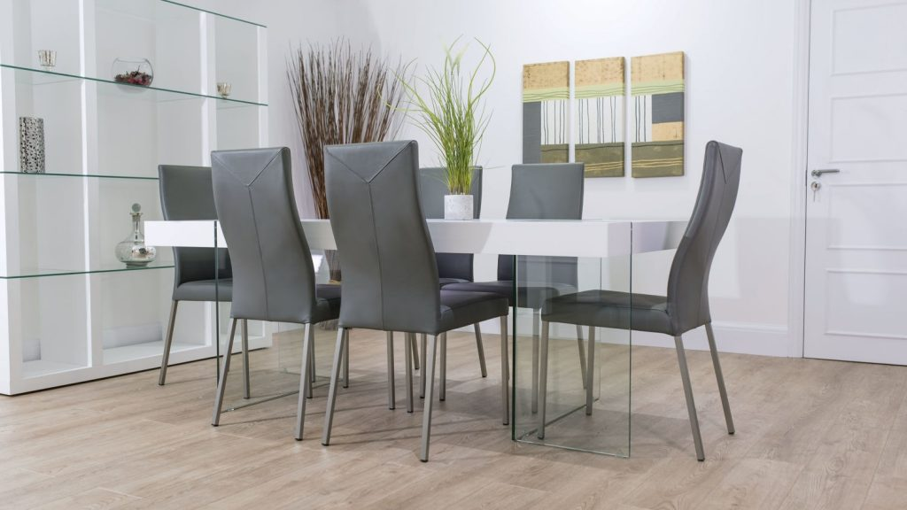 Dining Table Grey And Chairs Pythonet Home Furniture Entrancing