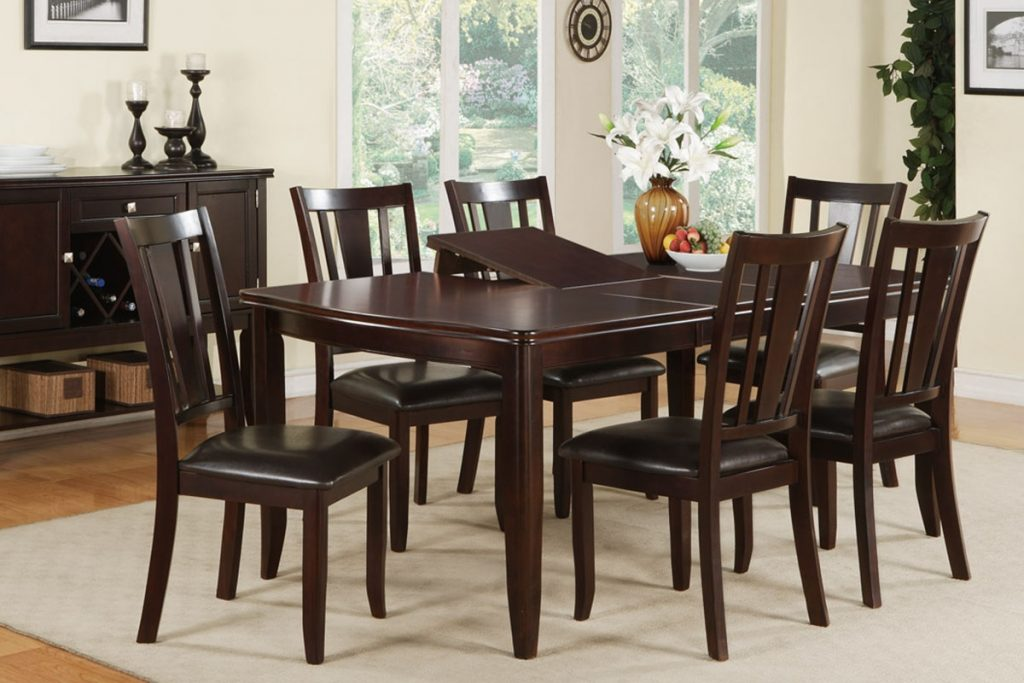 Dining Table Set With Hidden Leaf Espresso Finish Dining Room