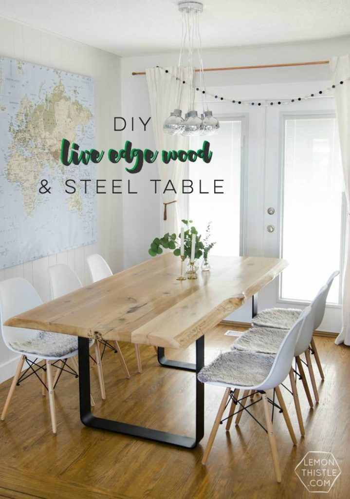 Diy Live Edge Table With Steel Base Pinterest Live Edge Wood