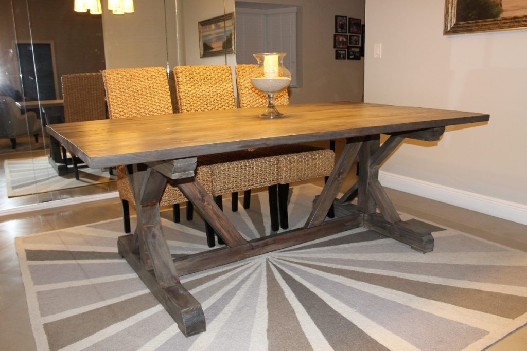 Diy Trestle Solid Wood Farmhouse Dining Table With Glass Candle