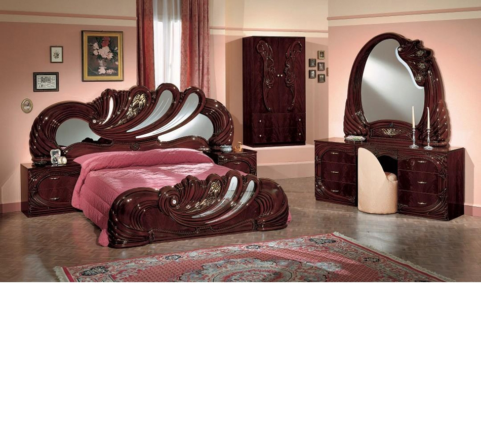 Dreamfurniture Vanity Mahogany Italian Classic Bedroom Set