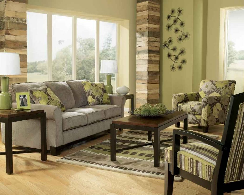 Earth Tone Living Room With Green Wall Paint And Gray Sofa For Earth