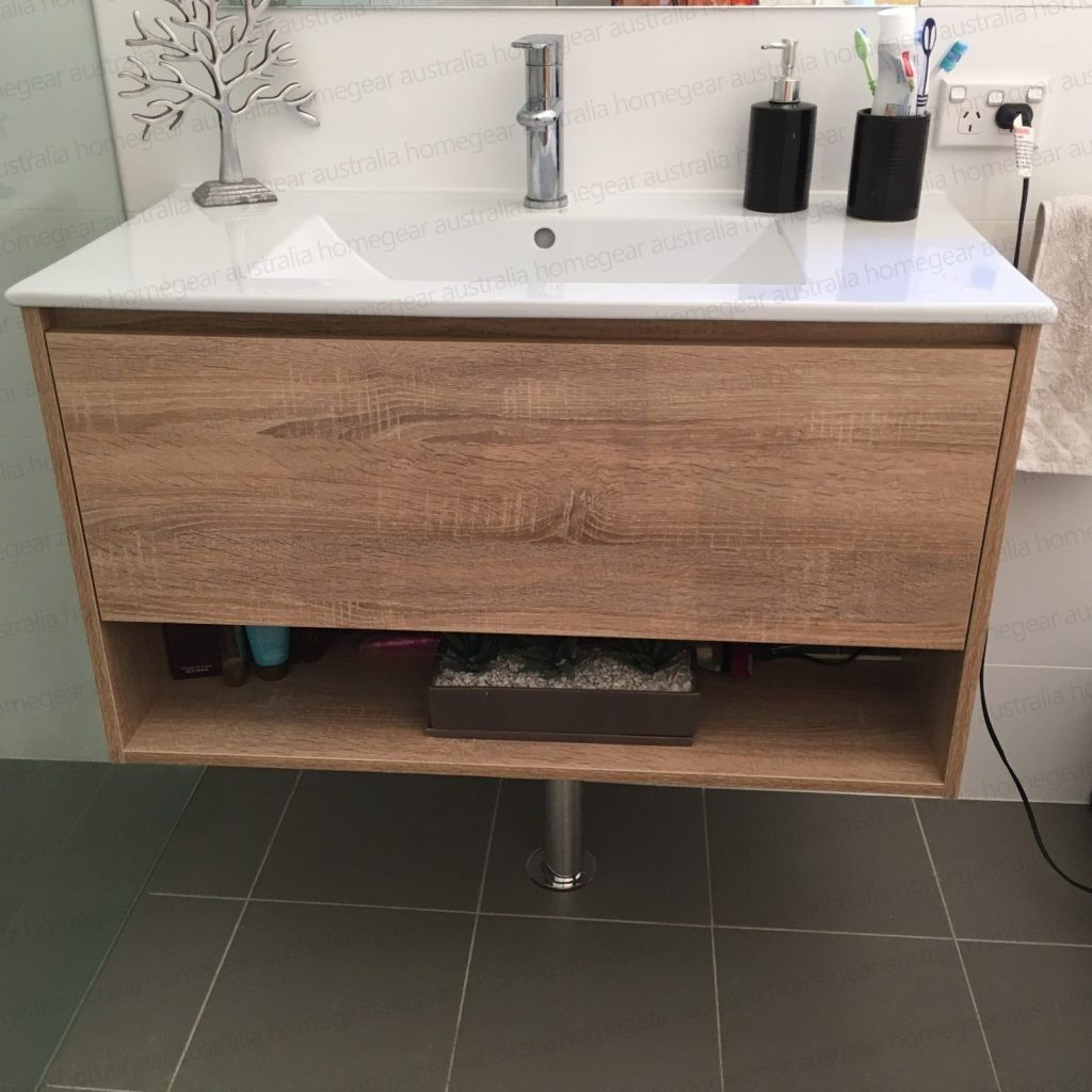 Eden 750mm White Oak Textured Timber Wood Grain Bathroom Vanity
