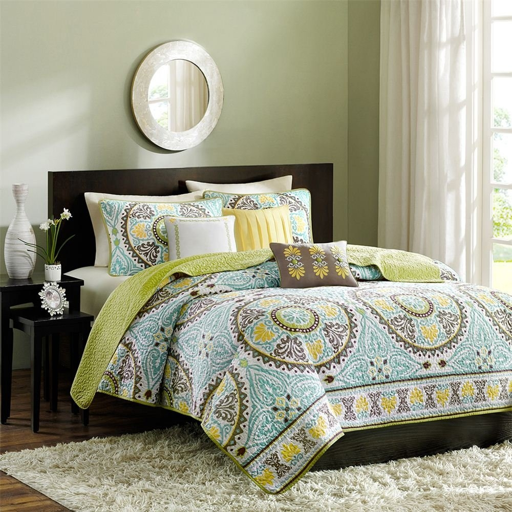 Elegant Bedroom Set With Green Echo Jaipur Queen Comforter Set