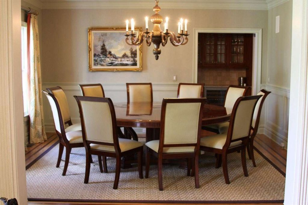 Elegant Round Dining Room Sets For 6 7 Table Solid Wood And Chairs