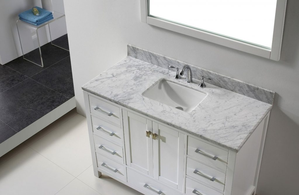 Eviva Aberdeen 42 Transitional White Bathroom Vanity With White