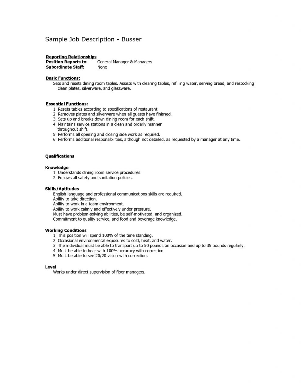 Fresh Dining Room Manager Job Description On Pertaining To