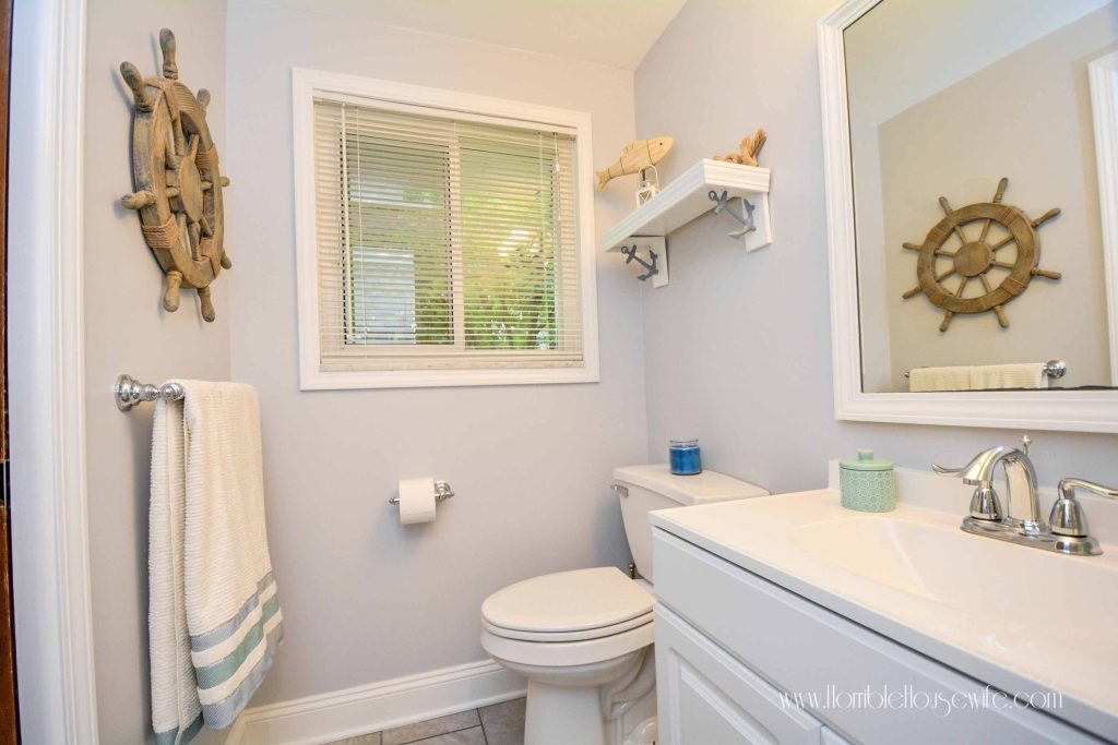 From Pink To Chic A Nautical Bathroom Remodel Horrible Housewife