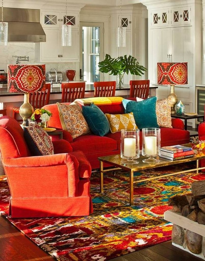 Furniture Alluring Living Room Orange Sofa Bohemian Style Furniture