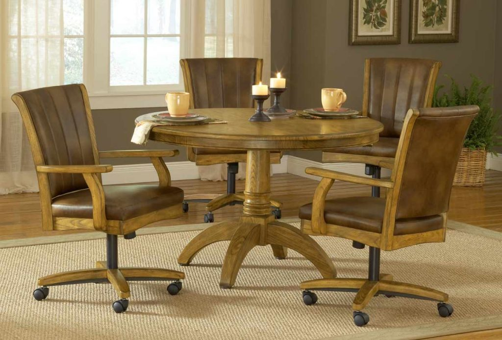 Furniture Oak Dining Chairs With Casters Room Set Used Ebay Arms