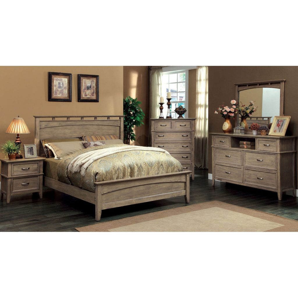 Furniture Of America Seashore 4 Piece Weathered Oak Bed Set