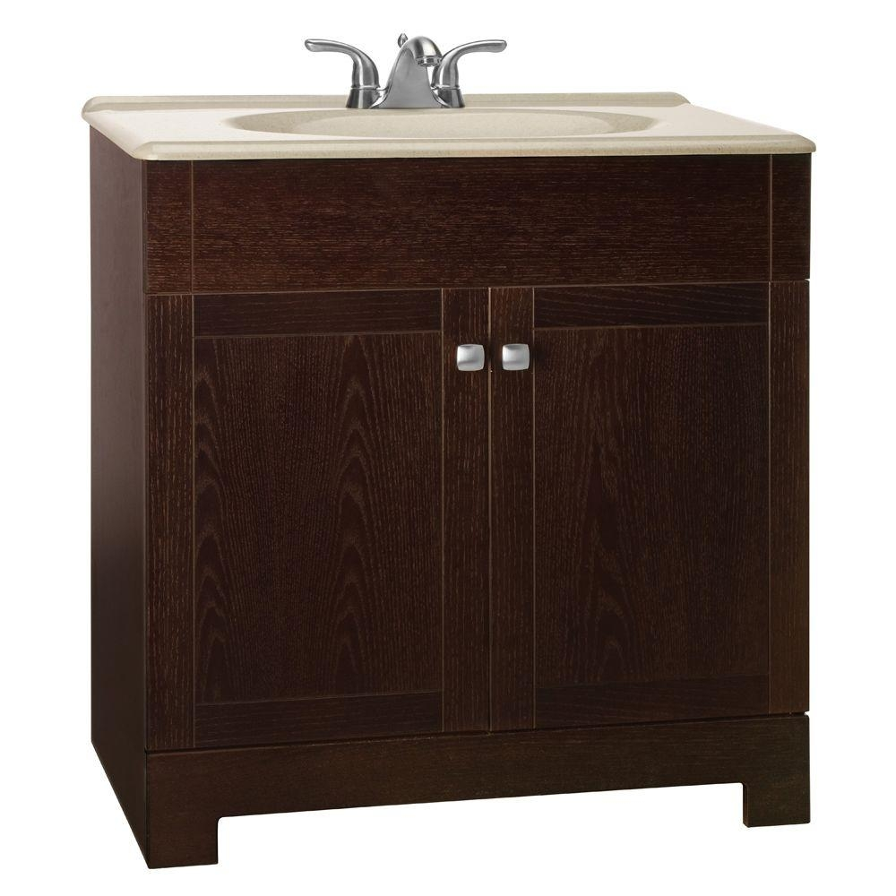 Glacier Bay Renditions 31 In W Bath Vanity In Java Oak With Solid