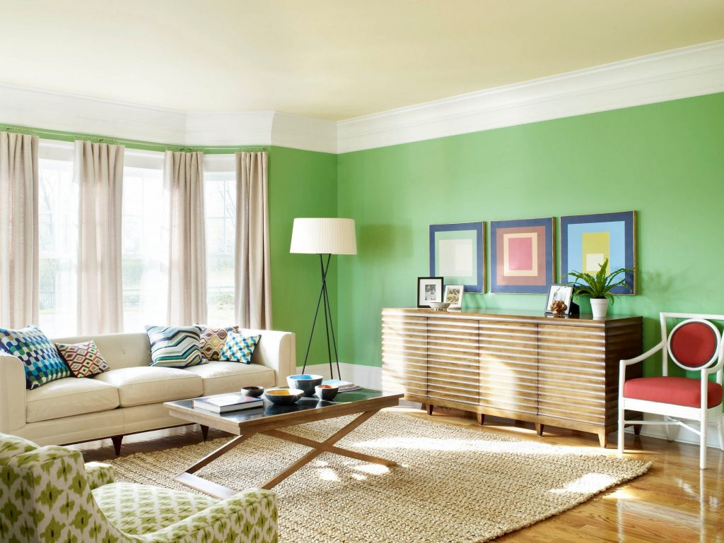 Green Wall Theme Added Brown Wooden Chest Of Drawers And
