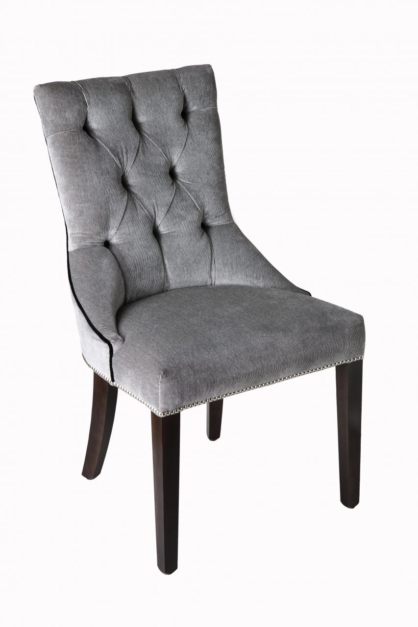 Grey High Back Dining Chairs High Tufted Back Grey Upholstered From