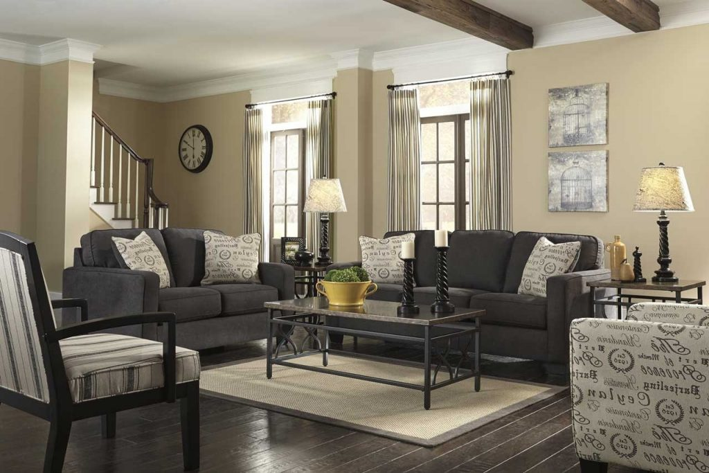 Grey Living Room With Brown Furniture Grey Baluster Wooden Ceiling