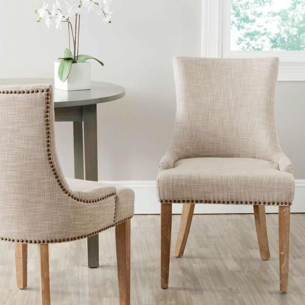 Grey Upholstery Dining Chair Living Room Entryway Brass Nail Head