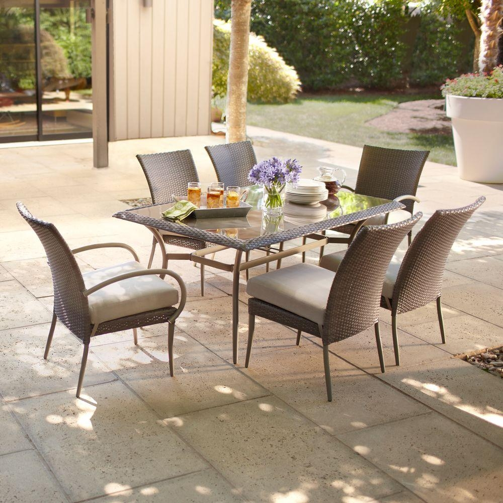 Hampton Bay Posada 7 Piece Patio Dining Set With Gray Cushions 153