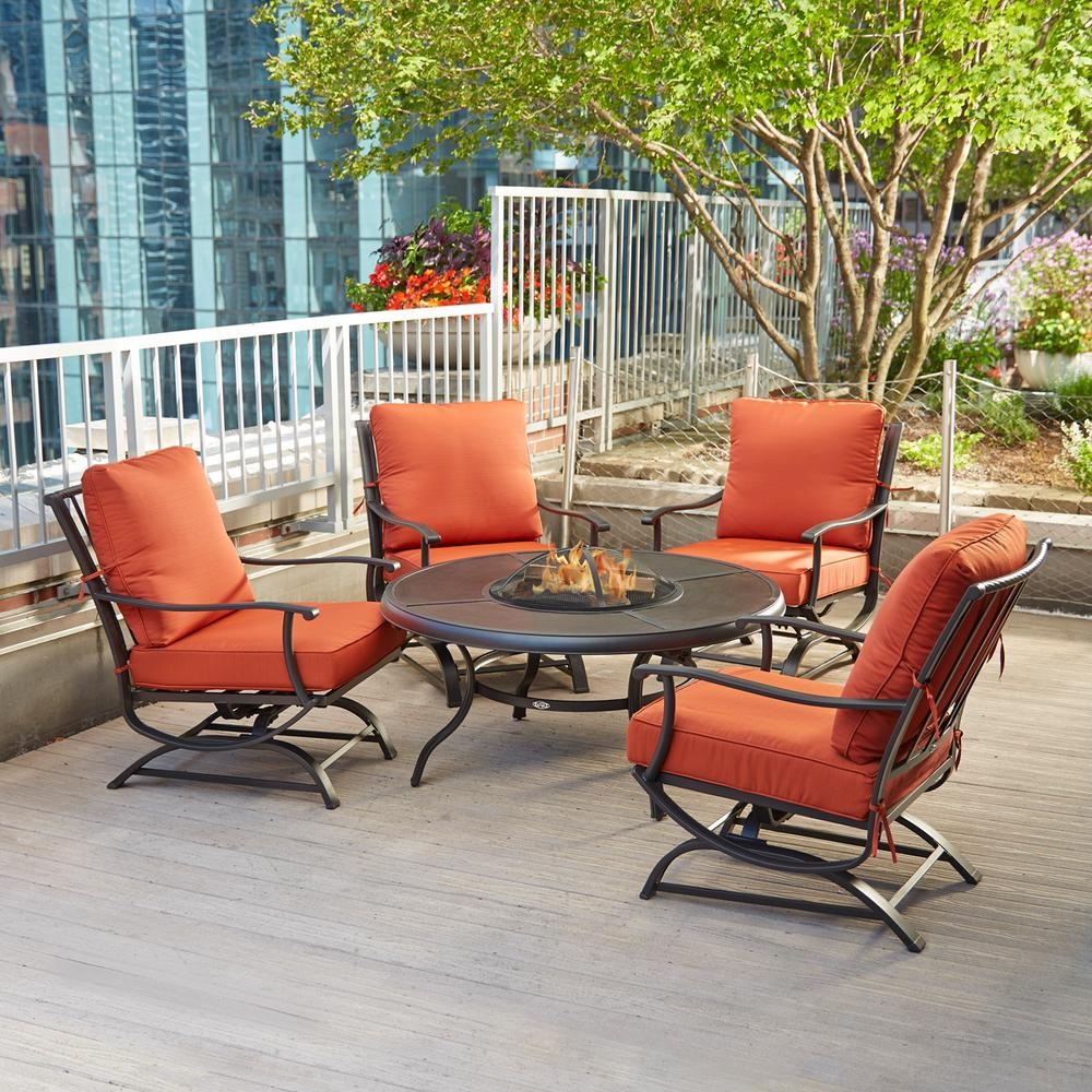 Hampton Bay Redwood Valley 5 Piece Metal Patio Fire Pit Seating Set