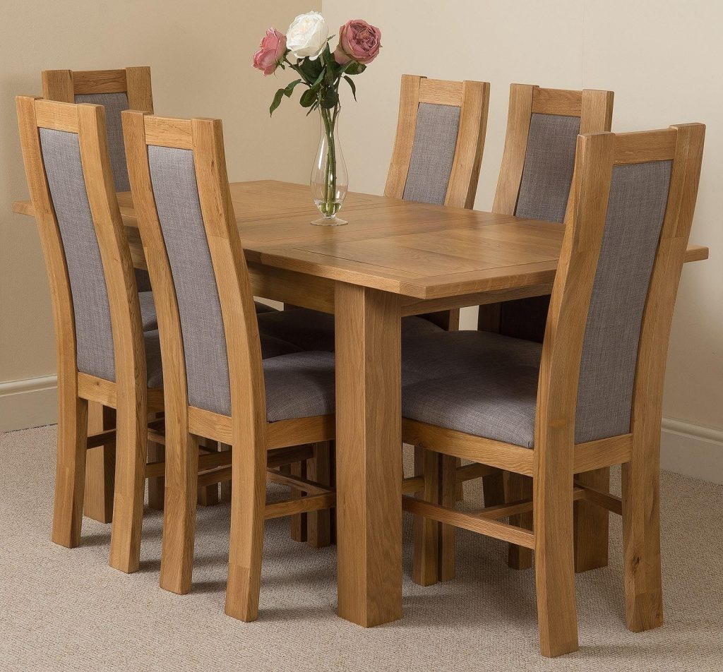 Hampton Extending Rustic Oak Dining Table With 6 Grey Stanford