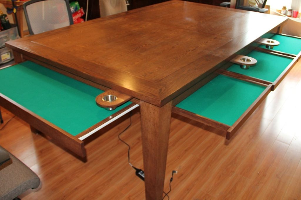 Hand Crafted Game Table W Removable Top Cup Holders Pull Out